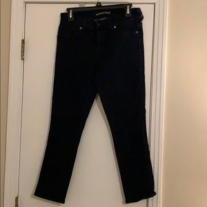 Gently used dark blue Express Jeans